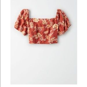 American Eagle Floral Cropped Shirt